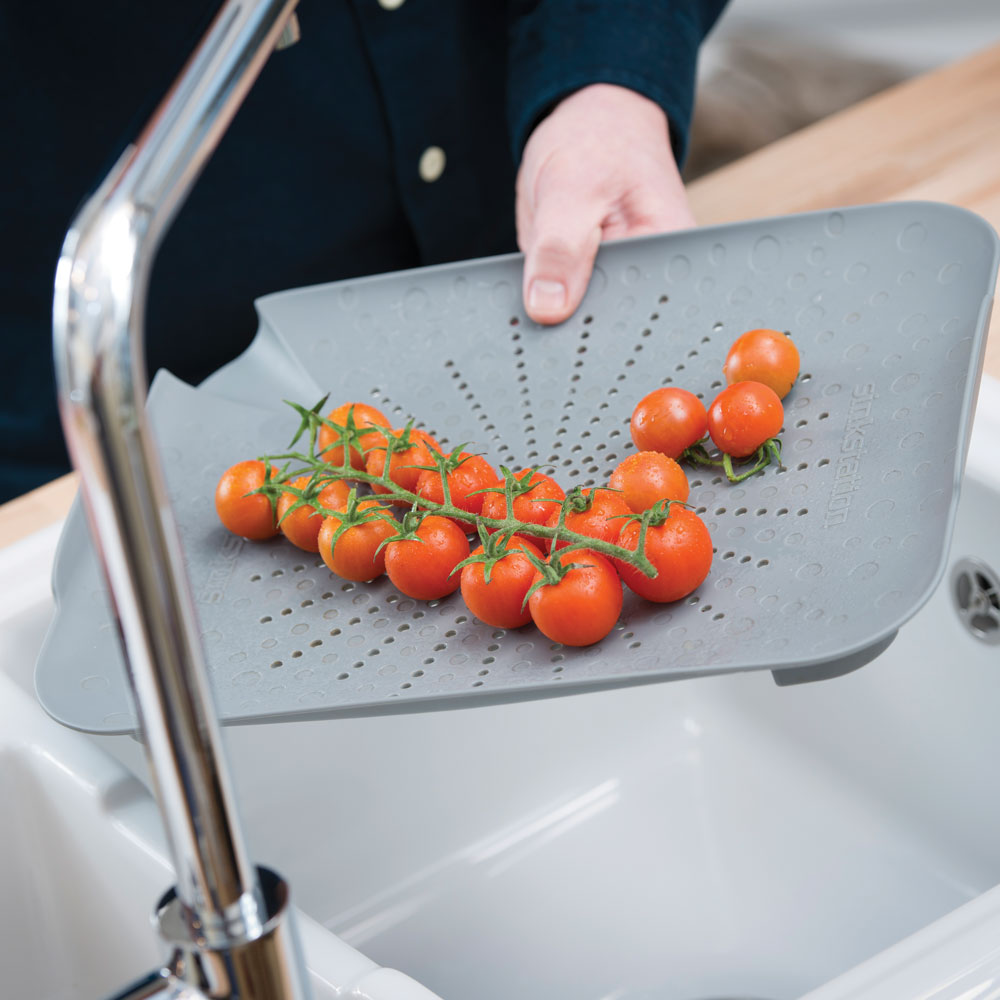 sinkstation flat colander grey
